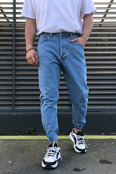 PersPrens Boyfriend Erkek Açık Mavi Düz Paçası Lastikli Likralı Kot Pantolon