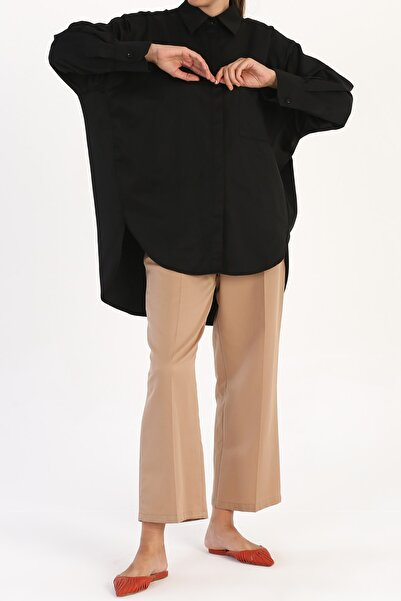 ALLDAY Kadın Siyah Rahat Kalıp Gömlek Tunik