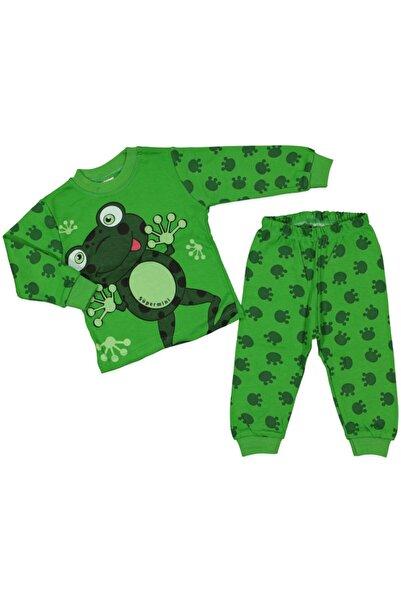 Süpermini 4-5-6 Yaş Kurbağa Baskılı Yeşil Alt Üst Ikili Pijama Takım