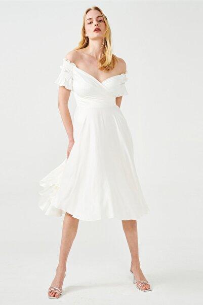 Muun Prenses Yaka Beyaz Abiye Elbise
