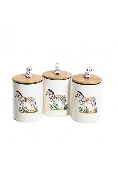 Lucky Art Zaffle 3lu Porselen Kavanoz Setı 20 Cm