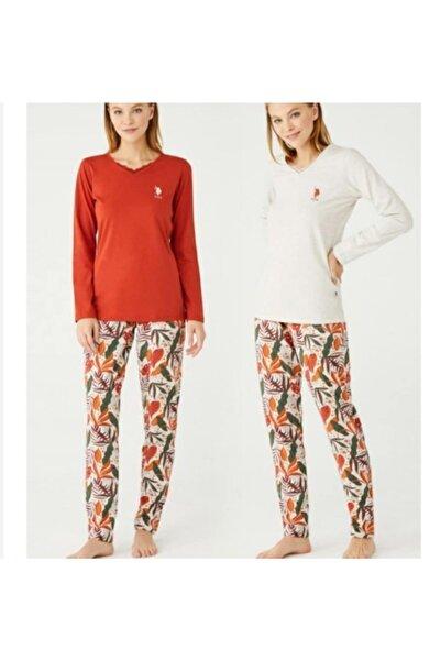 U.S. Polo Assn. Kadın Bej Pijama Takımı 16396