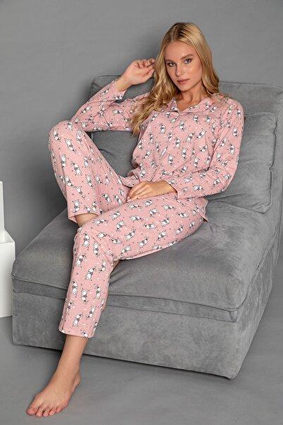 STRAWBERRY Kadın Desenli Pamuklu Düğmeli Pijama Takim