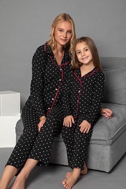 ELİTOL Kadın Desenli Pamuklu Likrali Anne-Kiz Düğmeli Pijama Takim
