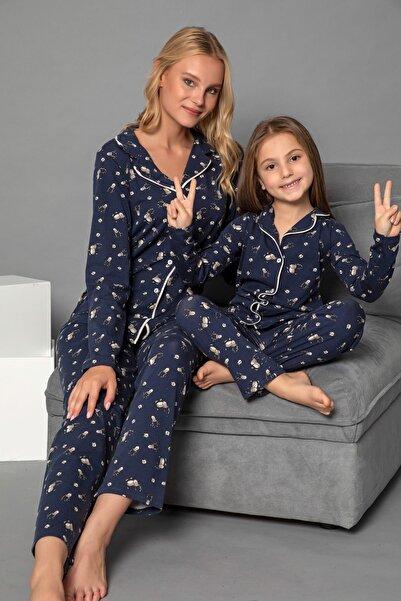 ELİTOL Lacivert Pamuklu Likrali Anne-Kiz Düğmeli Pijama Takim