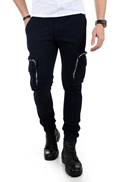 DeepSEA Erkek Lacivert Cep Fermuarlı Kargo Pantolon