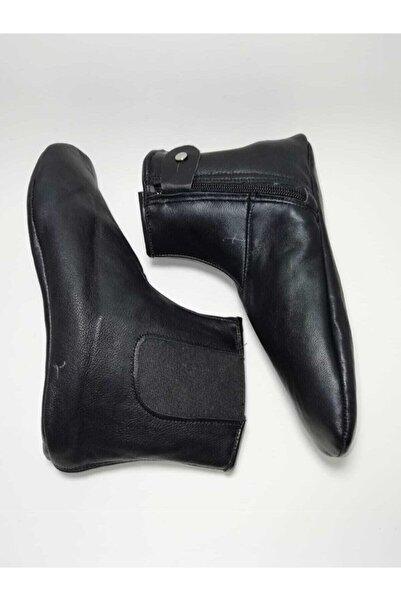 GEZER Unisex Siyah Astarlı Koyun Derisi Mest Çorap Koyun Derisi Lastikli Miflonlu Mest Astarlı Koyun