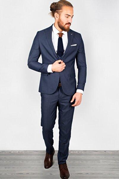 DeepSEA Erkek Mavi Slim Fit 3'lü Takım Elbise 2001027