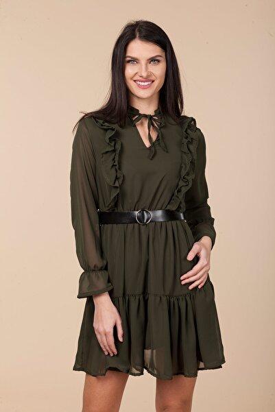 Mossta Kadın Haki Bel Lastikli Fırfırlı Elbise