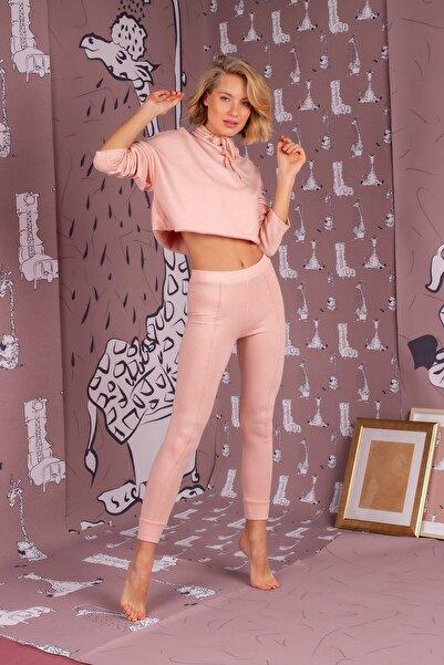 Hays Kadın Pembe Boğazlı Triko Pijama Takım