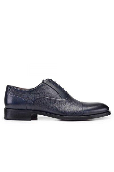 Nevzat Onay Erkek Lacivert Hakiki Deri Klasik Bağcıklı Kösele Ayakkabı -10350-