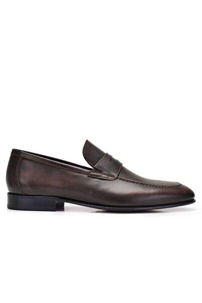 Nevzat Onay Erkek Kahverengi Hakiki Deri Klasik Loafer Kösele Ayakkabı -11659-