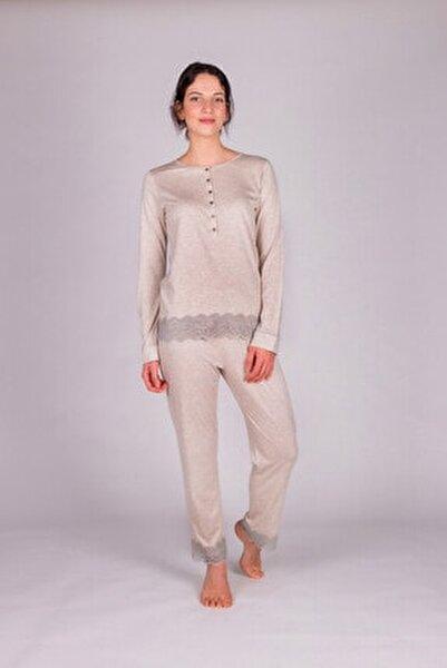 Kadın Bej Melanj Modal Dantel Detaylı Pijama Takımı