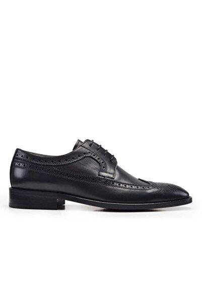 Nevzat Onay Erkek Siyah Hakiki Deri Klasik Bağcıklı Kösele Ayakkabı -8789-