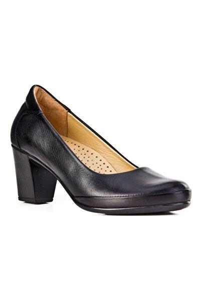 Cabani Kadın Siyah Hakiki Deri Klasik Topuklu Ayakkabı 9KBE05AY002700