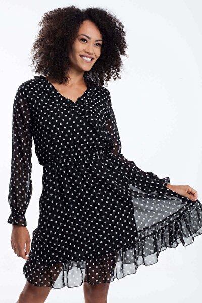 Mossta Kadın Siyah Bel Büzgülü Şifon Elbise
