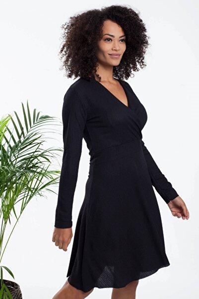 Mossta Kadın Siyah Kruvaze Yaka Likralı Elbise