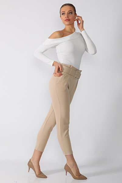 Mossta Kadın Bej Kemerli Kumaş Pantolon