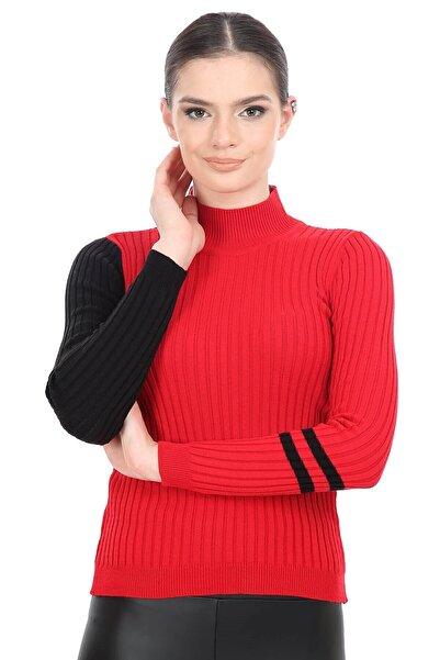 Mossta Kadın Kırmızı Dik Yaka Triko Kazak