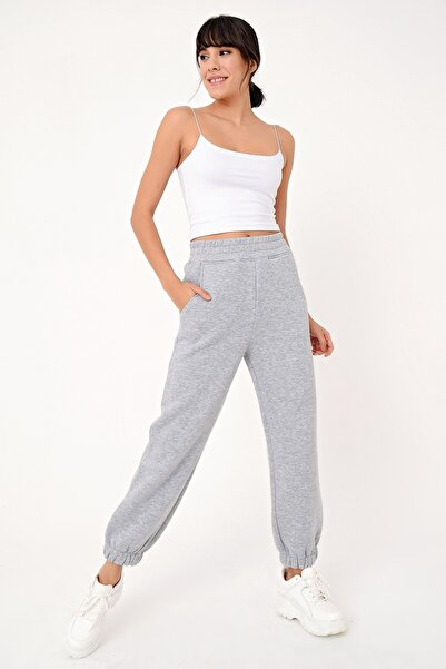 Ecrou Kadın Gri Mel Paça Lastikli 3 Iplik Şardonlu Jogger Pantolon
