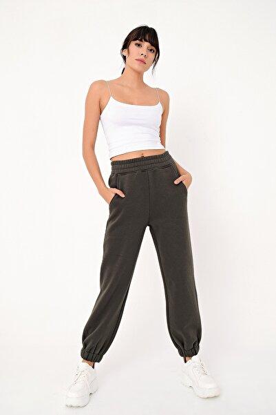 Ecrou Kadın Siyah Paça Lastikli 3 Iplik Şardonlu Jogger Pantolon