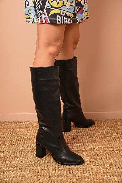 Shoes Time Kadın Siyah Topuklu Çizme 20k 705