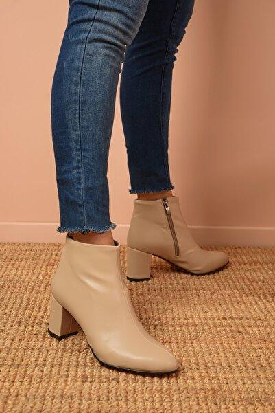 Shoes Time Kadın Bej Topuklu Bot