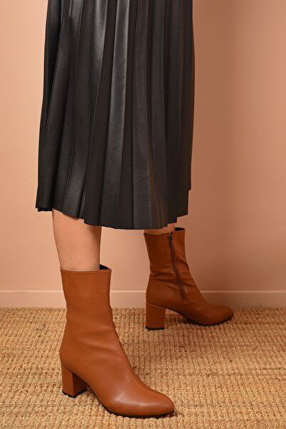 Shoes Time Kadın Taba Topuklu Bot 20k 600