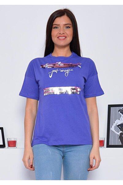 Mossta Kadın Mor Payetli T-shirt