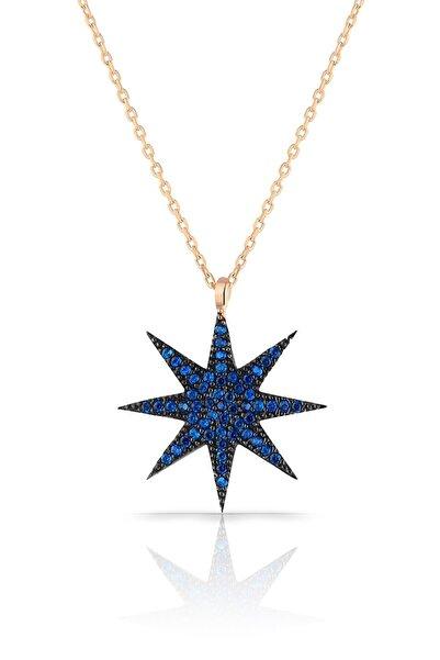 Azuris Silver Kadın 925 Ayar Gümüş Mavi Taşlı Yıldız Kolye ALK1720