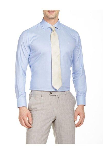 Bisse Erkek Mavi Uzun Kollu Italyan Yaka Klasik Gömlek