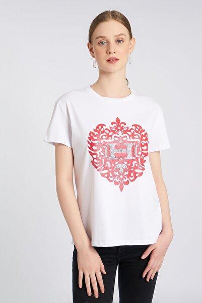 HomeStore Kadın Kırmızı Desenli T-shirt