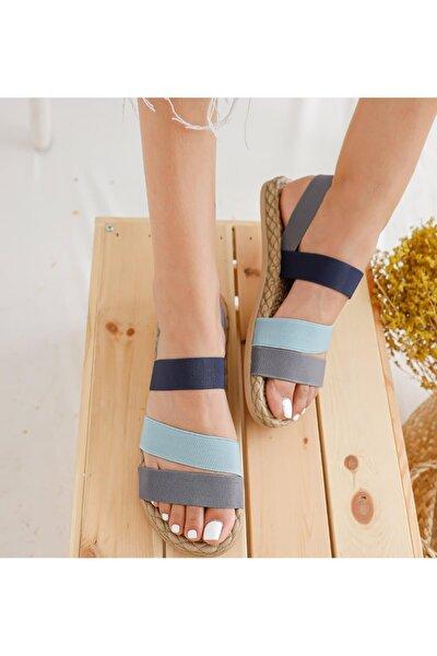 MUGGO Kadın Gri Şeritli  Sandalet