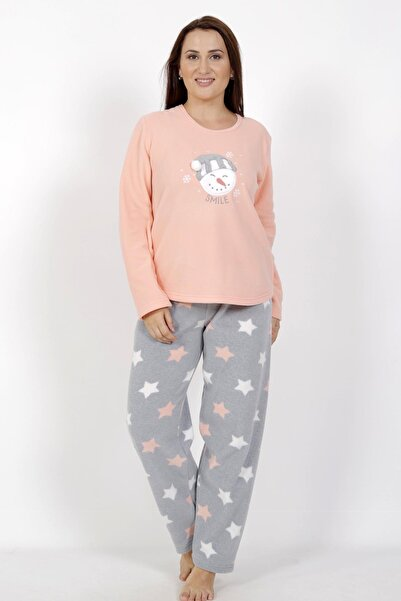 VİENETTA Kadın Pembe Uzun Kol Polar Büyük Beden Pijama Takım