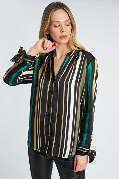 HomeStore Kadın Haki Çizgili Gömlek