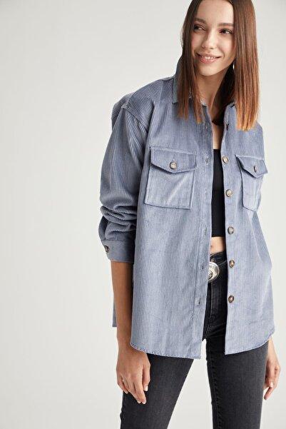 DeFacto Kadın Mavi Retro Cepli Oversize Gömlek Ceket