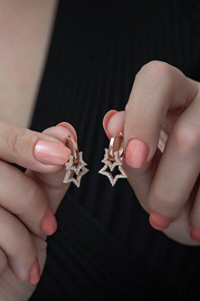 Nereze Kadın 925 Ayar Rose Çift Yıldız Küpe Gümüş Küpe