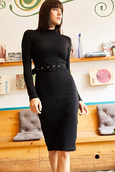 Olalook Kadın Siyah Kemerli Triko Kalem Elbise ELB-19001312