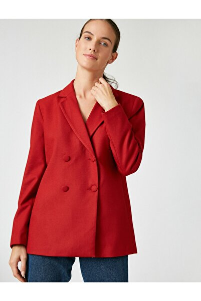 Koton Kadın Bordo Dügme Detayli Blazer Ceket