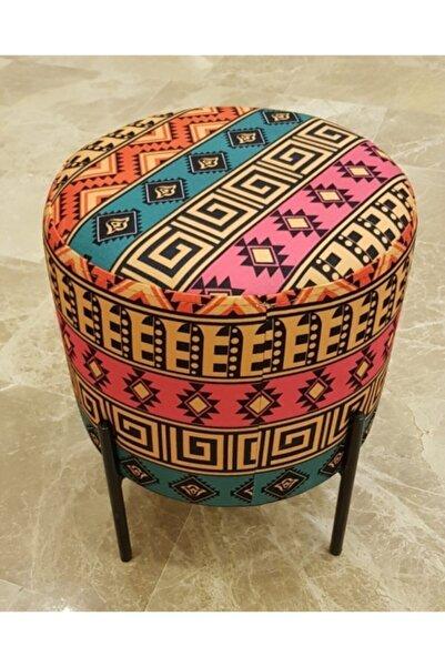 mobilya kervanı Metal Ayaklı Dekoratif Yuvarlak Puf