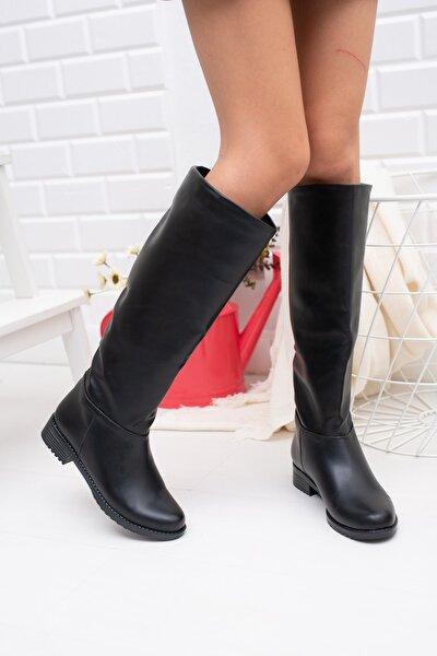 Moda Değirmeni Siyah Cilt Kadın Çizme Md1010-117-0002