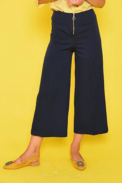 Mossta Kadın Lacivert Fermuar Detaylı Bol Pantolon