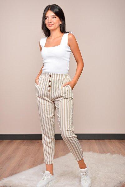 Mossta Kadın Kahverengi Bel Lastikli Keten Pantolon