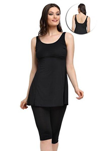 Kadın Siyah Likralı Taytlı Elbise Mayo