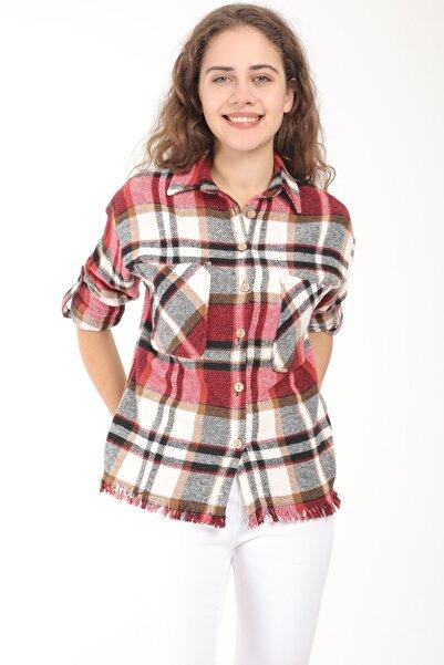 MD trend Kadın Kırmızı Oduncu Desen Oversize Yünlü Kaşe Gömlek