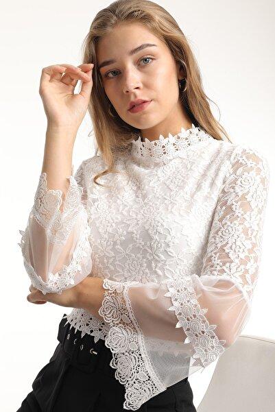 MD trend Kadın Ekru Dantelli Tül Detaylı Crop Bluz