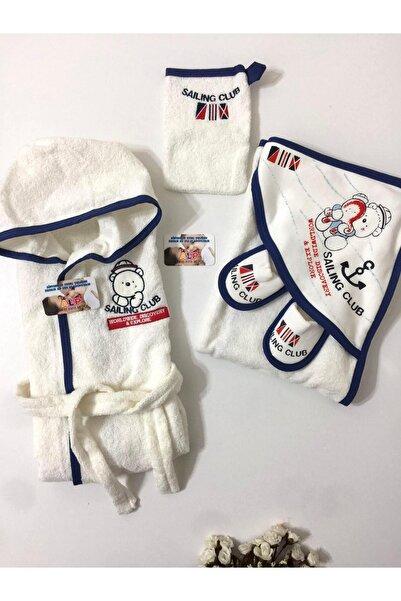 Gaye Erkek Bebek Lacivert Kaptan Kutup Ayısı Bornoz Set
