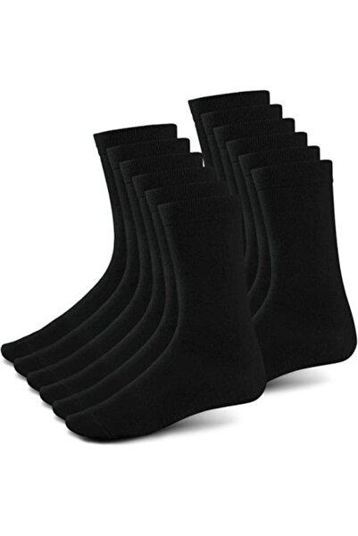 Zirve 10 Çift Unisex Bambu Siyah Soket Çorap