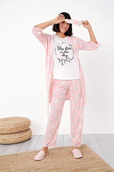 Ecrou Kadın Somon Yıldız Desenli Penye 5 Li Pijama