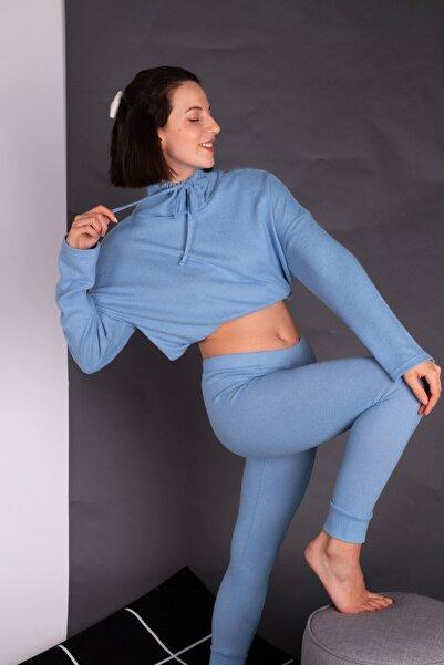 Hays Kadın Mavi Bogazlı Triko Takım
